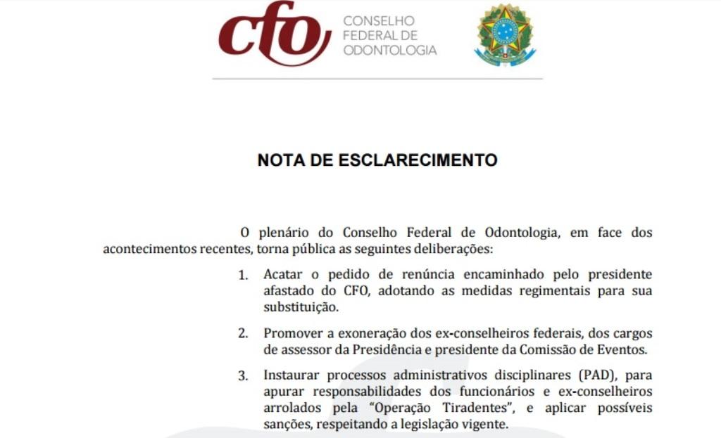 NOTA DE ESCLARECIMENTO CONSELHO FEDERAL DE ODONTOLOGIA