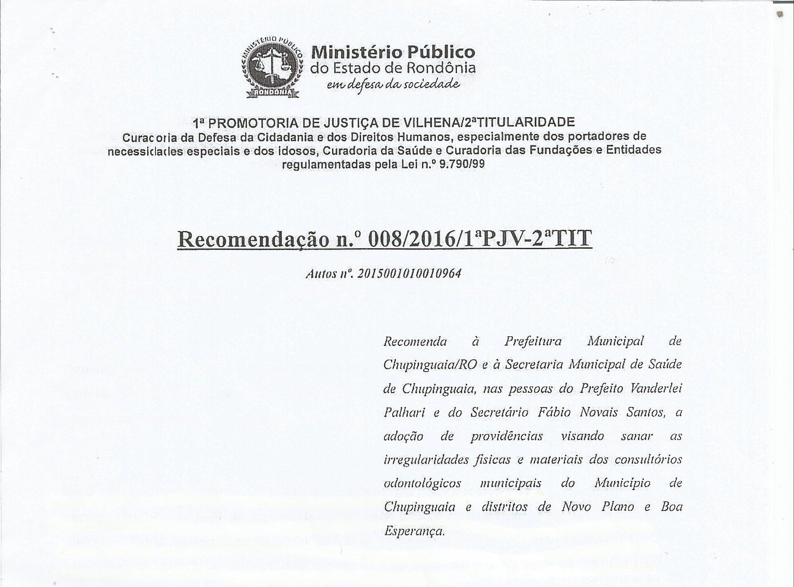 Após fiscalização do CRO-RO Ministério Público notifica prefeitura de Chupinguaia