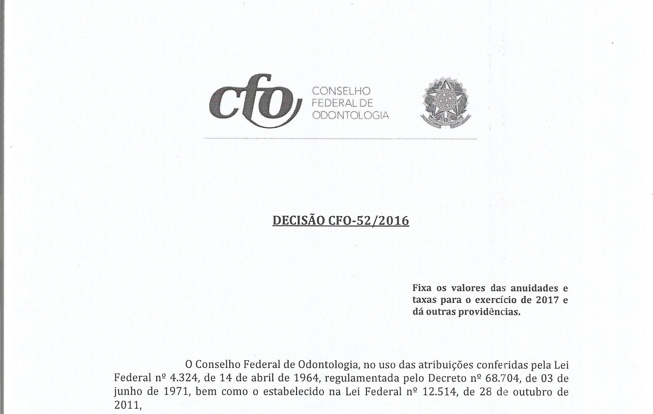 CFO FIXA OS VALORES DA ANUIDADES E TAXAS PARA O EXERCÍCIO DE 2017