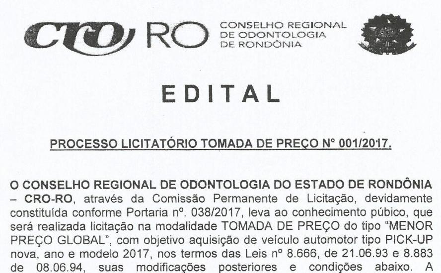 Edital Processo Licitatório Tomada de Preço Nº001/2017