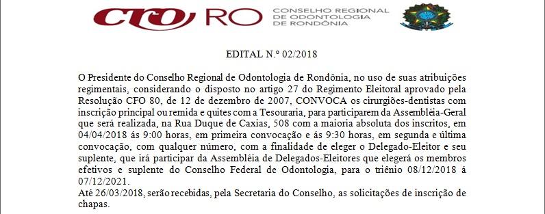 CRO-RO convoca os CDs a participarem da eleição para Delegado-Eleitor