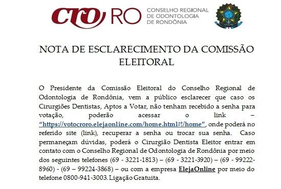 NOTA DE ESCLARECIMENTO DA COMISSÃO ELEITORAL