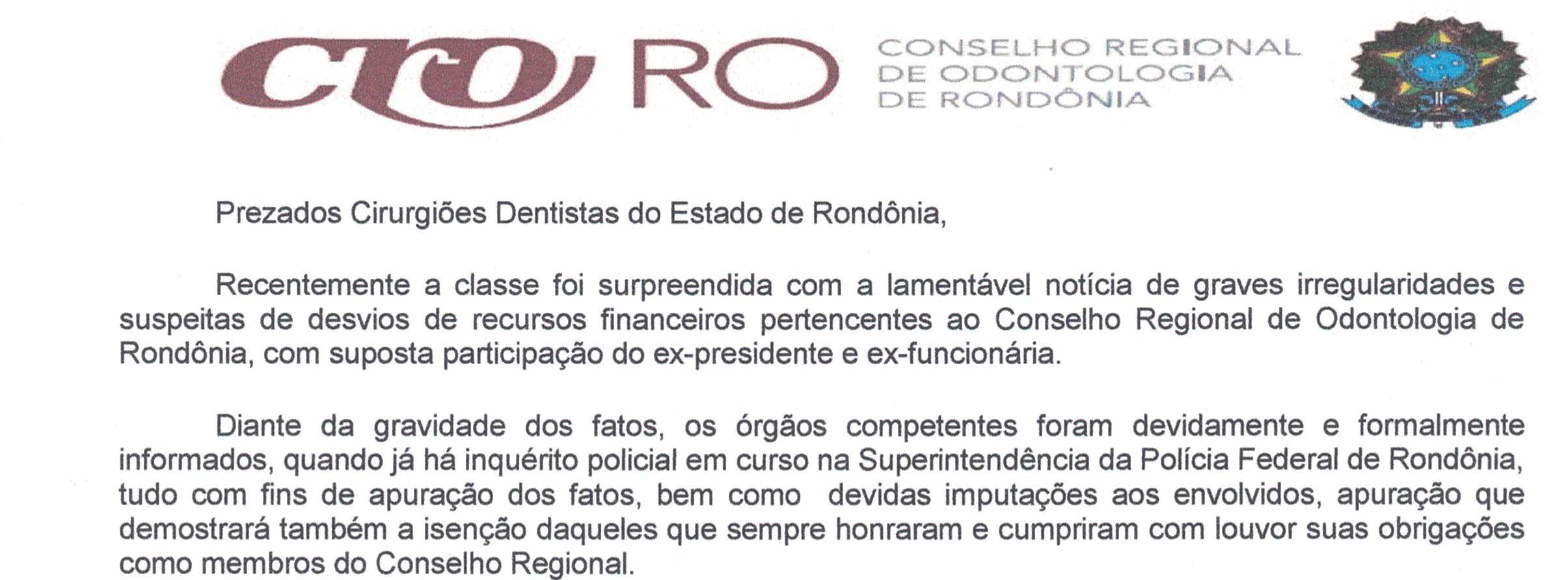 NOTA DE ESCLARECIMENTO DA NOVA DIRETORIA PROVISÓRIA DO CRO-RO