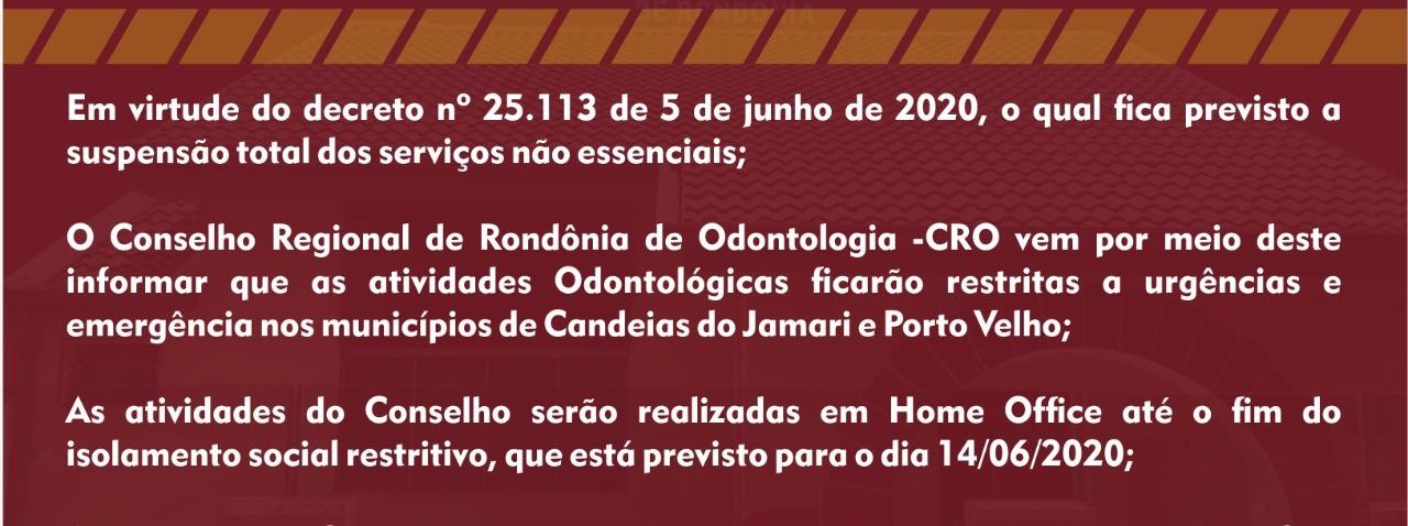 INFORMATIVO: RESOLUÇÃO Nº 5/2020 ISOLAMENTO SOCIAL RESTRITIVO