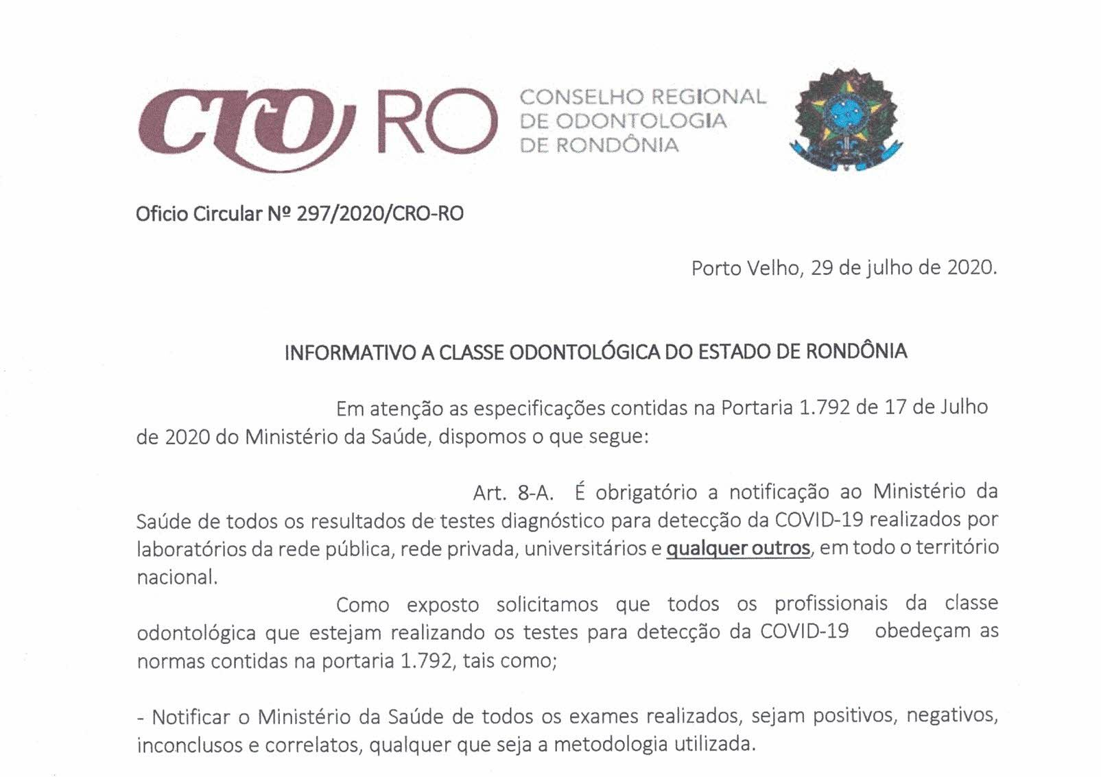Informativo a Classe Odontológica do Estado de Rondônia