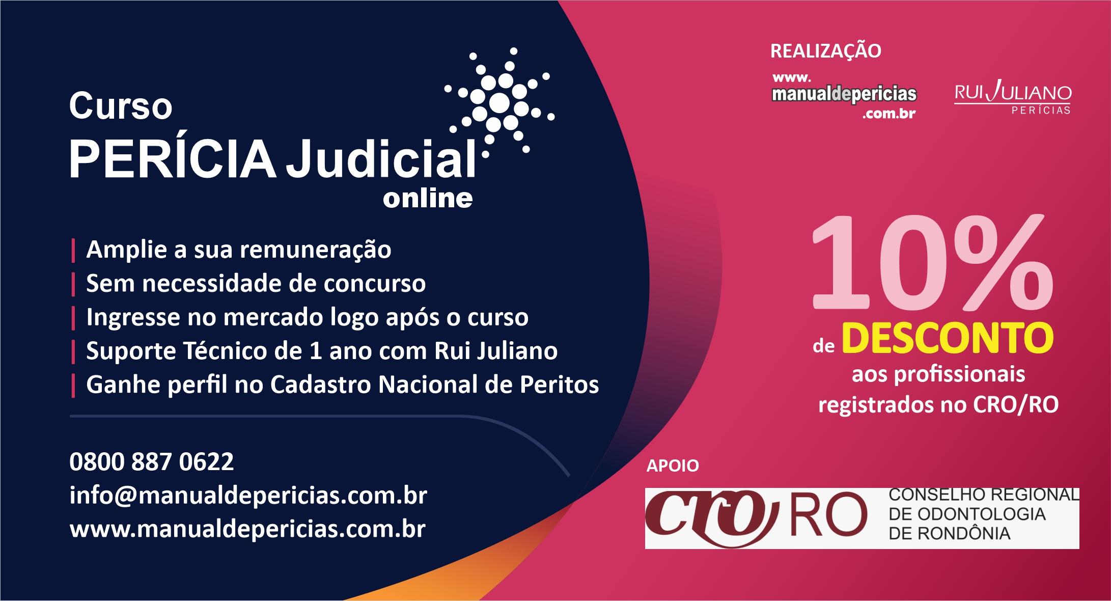 PARCERIA: SEJA PERITO JUDICIAL – CURSOS COM 10% DE DESCONTO