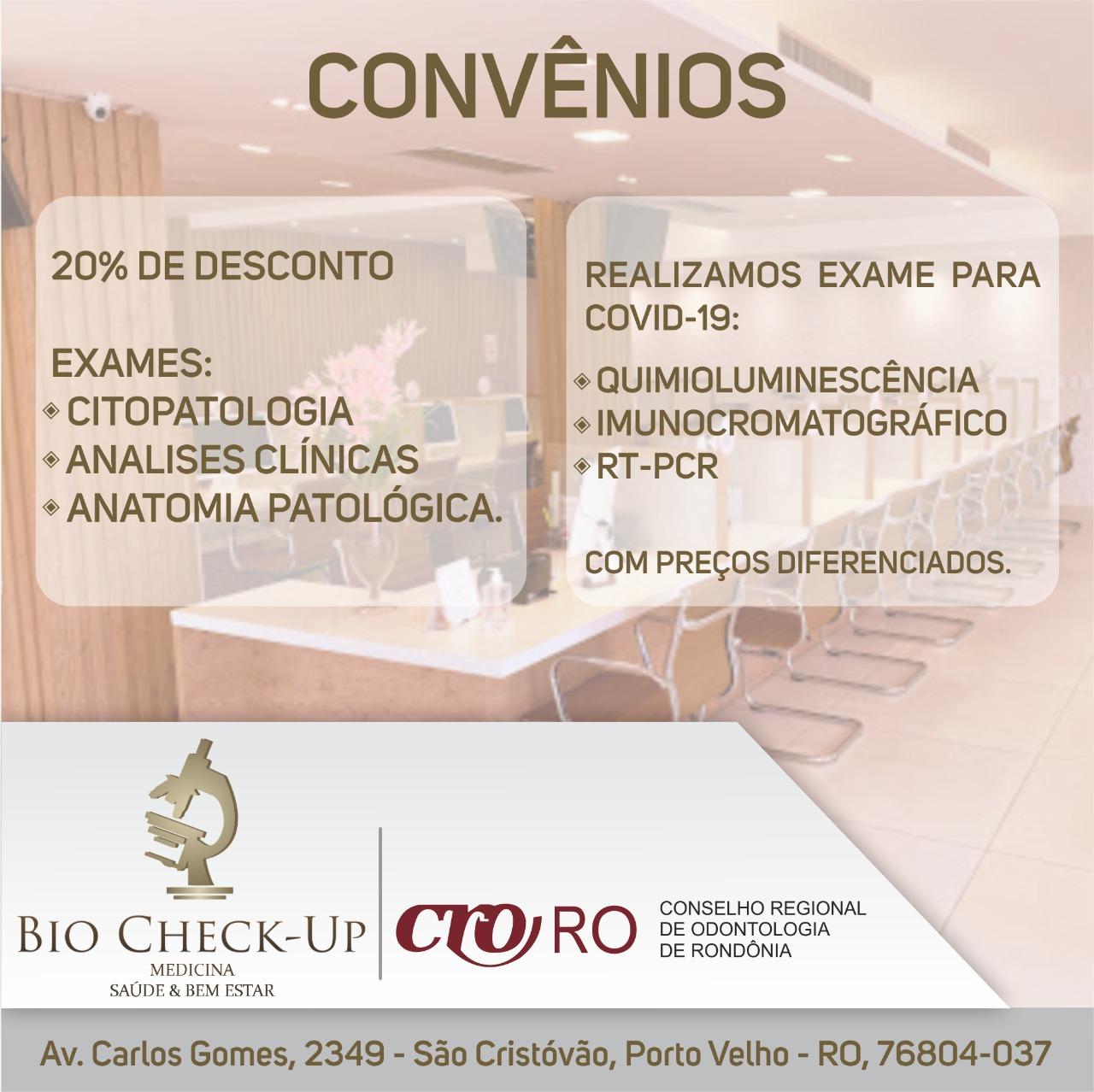 Parceria CRO-RO: Bio Check-Up Medicina Saúde & Bem Estar