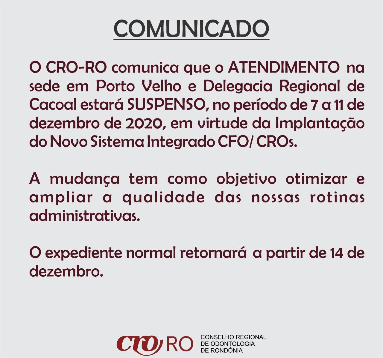 CRO entra em pausa para treinamento de novo sistema do CFO